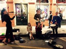 Our first lone busking session